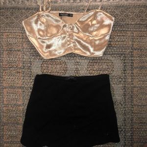 Gold crop top and black skort